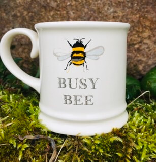 Stoneware 4 Espresso Honey Bee Cups