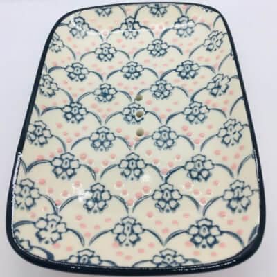 Ceramic Soap Dish Black Flower