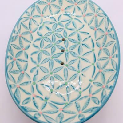 Ceramic Soap Dish Blue Flowers