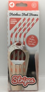 Red Stripey Stainless Steel Straws