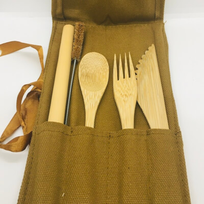 Bamboo Cutlery Set In Brown Canvas Pouch