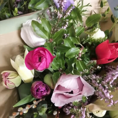 Bouquet Of Spring Flowers And Foliage