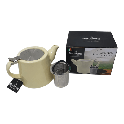 Cara Ceramic Cream Mcentee's Tea Teapot Stainless Steel Lid 510Ml (1-2 Cup) With Removable Stainless Steel Infuser