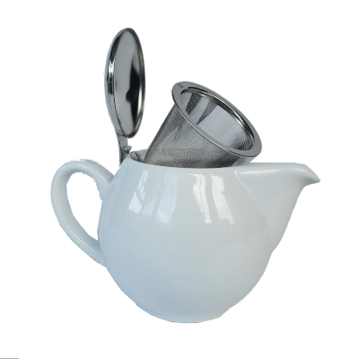 500Ml Aran (1-2 Cup) White Teapot Stainless Steel Lid 500Ml Teapot With Removable Stainless Steel Infuser