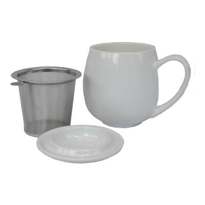 Mcentee's Tea Cream Mug With Removable Steel Filter Insert And Lid - Tea For One