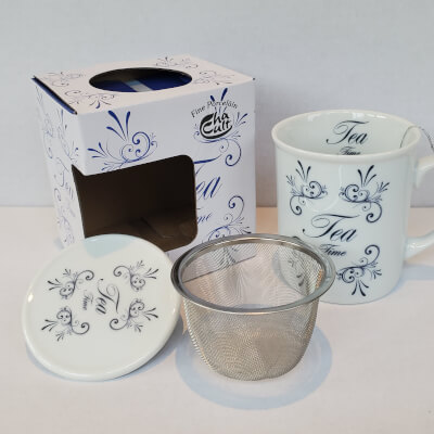 """Mcentee's Tea """"Time For Tea"""" Themed Mug With Removable Steel Filter Insert And Lid - Tea For One"""