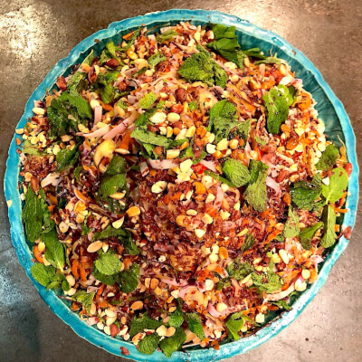 Asian Style Rice Noodle Slaw With Mint And Peanut Salad