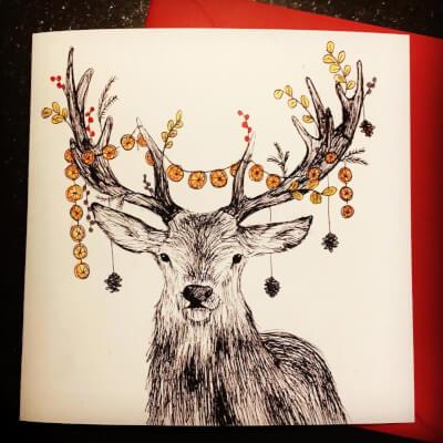 Deer Christmas Card 15X15cm