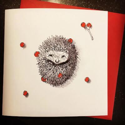 Hedgehog Christmas Card 15X15cm