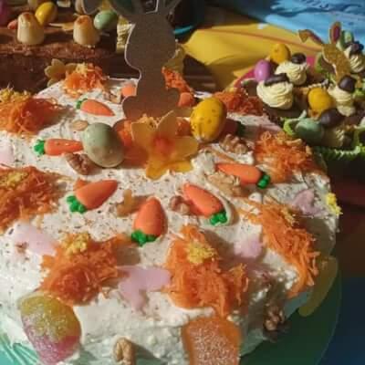 Baked Carrot, Walnut & Ginger Cake