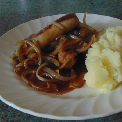 Sausage With Onion Gravy And Mash