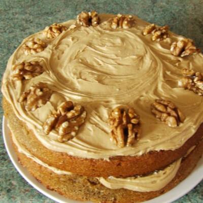 Coffee And Walnut Cake Slice