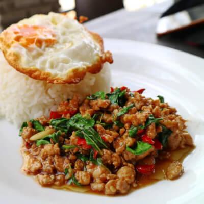 Kha Pow Moo Sub Kai Dao
