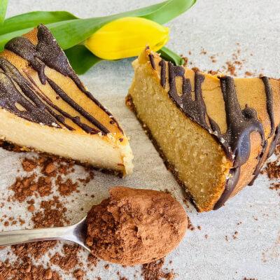 Vegan Vanilla Baked Cheesecake Slice