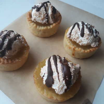 4 × Luscious Lime Curd Tartlets With Coconut Meringue And Dark Chocolate Drizzle