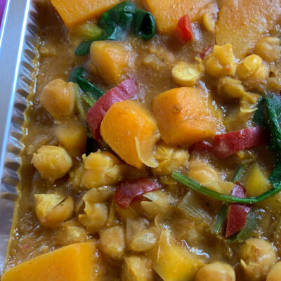 Chickpea,Butternut Squash And Spinach Curry
