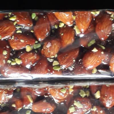 Large Dark Almond Brittle & Pistachios