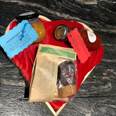 Wooden Heart Box With Red Velvet Deco