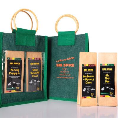 Curry Kit Gift Bag With 2 Main Dish Kits And 2 Side Dish Kits