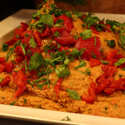 Spicy Red Pepper And Fresh Coriander Hummus