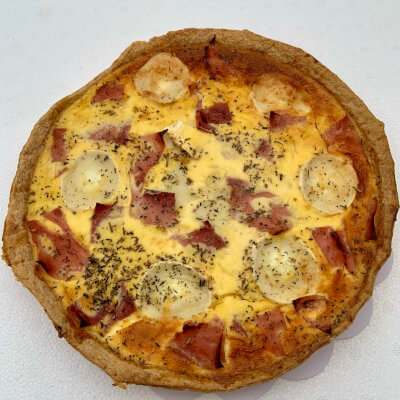 9 Inch Ham And Goats Cheese Quiche  Serves 6-8 Portions