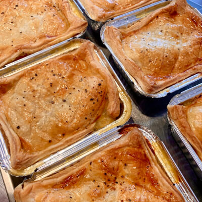 Chicken, Bacon And Leek Pie With Puff Pastry Topping