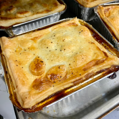 Beef And Burgundy Wine Pie With Puff Pastry Topping