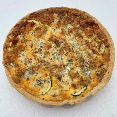 9 Inch Blue Cheese, Courgette And Walnut Quiche  Serves 6-8 Portions