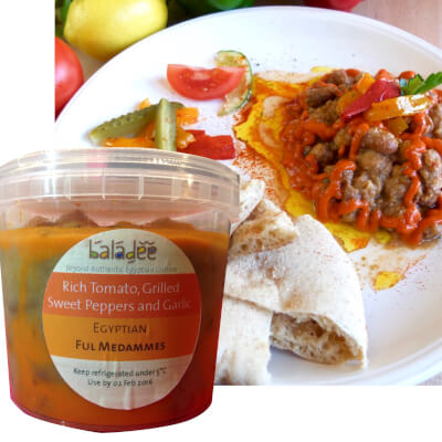 Egyptian Ful Medammes Seasoned With Rich Tomato Grilled Sweet Peppers And Garlic