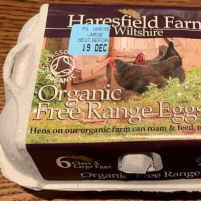 Organic Large Eggs From Haresfield Farm, Wiltshire