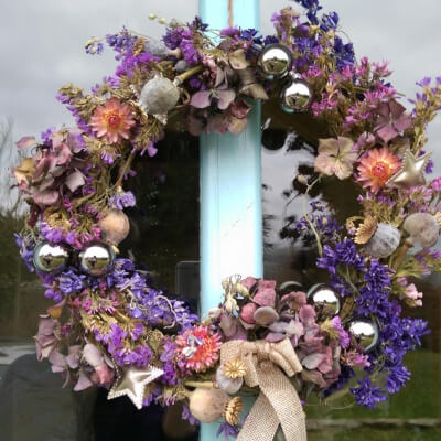 Dried Flower Wreath With Glass Baubles