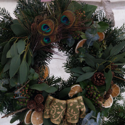 Christmas Wreath Green With Feathers