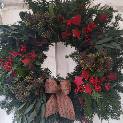 Christmas Wreath  Red Berries And Decorations