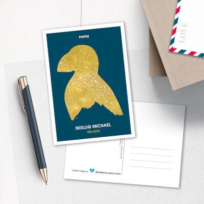Postcard Skellig Michael Puffin