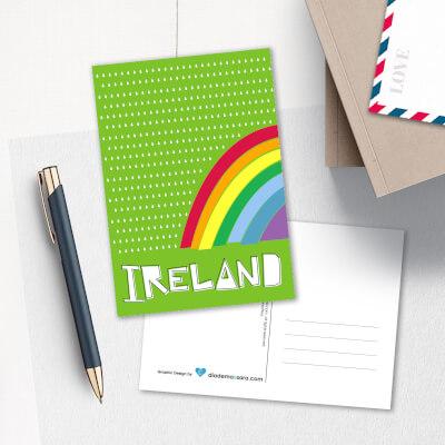 Postcard Ireland Rainbow