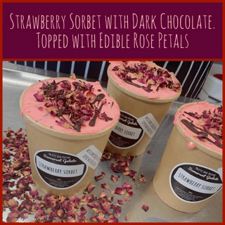 Strawberry Sorbet With Dark Chocolate, Topped With Rose Petals